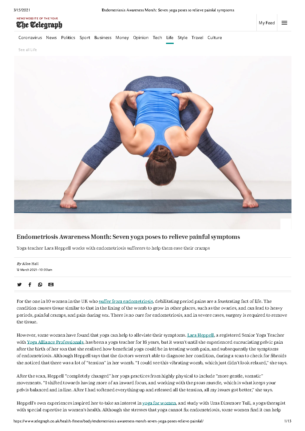 allwoman The Telegraph article - Endometrosis Awareness Month - Seven yoga poses to relieve painful symptoms